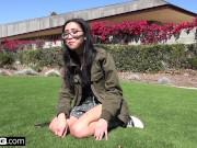 Nerdy teen asian Eva Yi flashes her tits in public